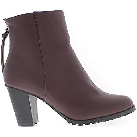 Tobillo botas mujer gran tamaño Burdeos al talón de cuero de 9 cm