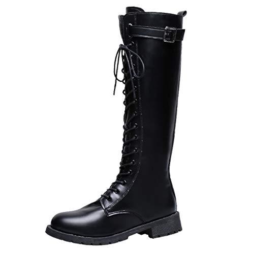 Kinlene Stivali da Donna Eleganti Stivali Invernali con Fibbia per Cintura Fibra di Colore Puro Stivali con Cerniera a Tubo Lungo da Donna in Vendita