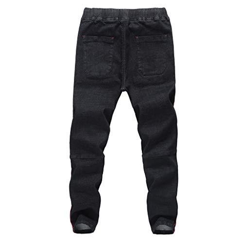 KPPONG 2018 Herren Jeans Hose Lose Stretch Denim Patchwork Distressed ausgefranste Kordelzug Taschen Harem Hosen - Zerschlissene Jeans