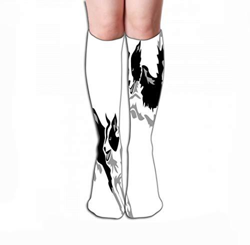 Border Collie Weihnachts-strumpf (Xunulyn Hohe Socken Men Women Outdoor Sports High Socks Stocking Agility Border Collie Jumping Stylized Greyscale Tile Length 19.7