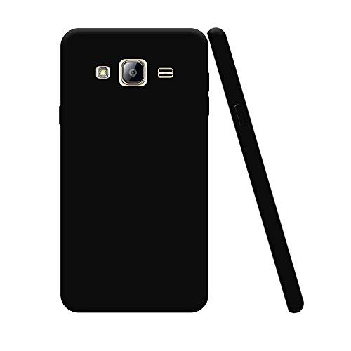 Hülle zum Samsung Galaxy J3 2016 SM-J320F, Silingsan Handyhülle Bumper Back Case Cover Silikon Case Candy Farben Hülle Ultradünnen Flexibel Weich Schutzhülle Kratzfeste Stoßfeste Tasche - Schwarz