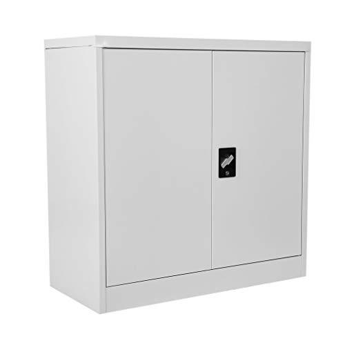 Armario Oficina Armario con puertas correderas 3baldas metal Armario Armario de almacenamiento revestimiento de polvo Chapa de acero se puede cerrar 90cm x 90cm x 40cm gris