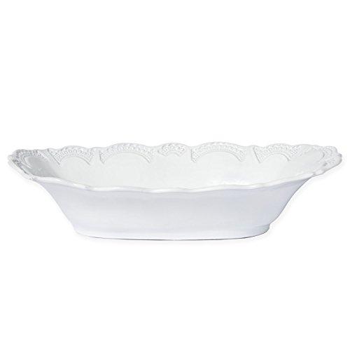 Vietri INC-11104 Incanto Lace Large Au Gratin Dish, White Au Gratin Dish