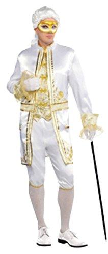 erdbeerloft - Herren Kostüm Casanova mit Maske- gold-glänzend, Mehrfarbig, Größe L