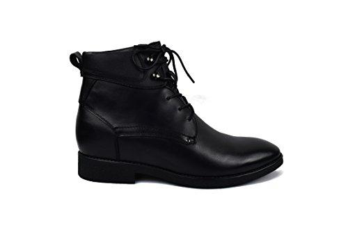Zerimar Stiefel mit Unsichtbarer erhöung von 7 cm Schuh Aus Hochwertigem Leder Schwarz