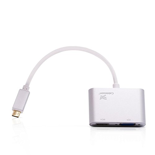 Cablesson USB Typ C männlich auf HDMI + VGA Weiblich Adapter mit Aluminiumschalen 0.23M 1080P/4K@30Hz (UHD, 4Kx2K,Thunderbolt 3 Kompatibel) für MacBook 12, MacBook Pro und mehr Typ C Geräte - Weiß - 12 Dvi Fuß