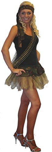 tu mit Schärpe, Gürtel und Bullet (Army Girl Kostüm)