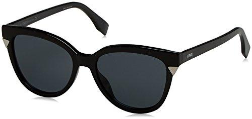 Fendi ff 0125/s bn d28, occhiali da sole donna, nero (shiny black/dark grey), 53