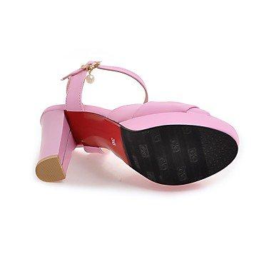 LvYuan Da donna Sandali Cinturino alla caviglia PU (Poliuretano) Estate Formale Cinturino alla caviglia Con diamantini Perle QuadratoBianco Nero Black