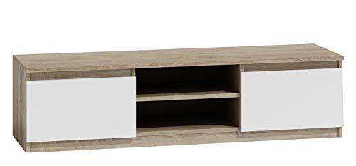 Mirjan24  TV Lowboard Monero 140, Fernsehschrank, Fernsehtisch, TV Tisch, Board, Schrank, B:140 cm, H:36 cm, T:40 cm, TV-Bank (Sonoma Eiche/Weiß) -