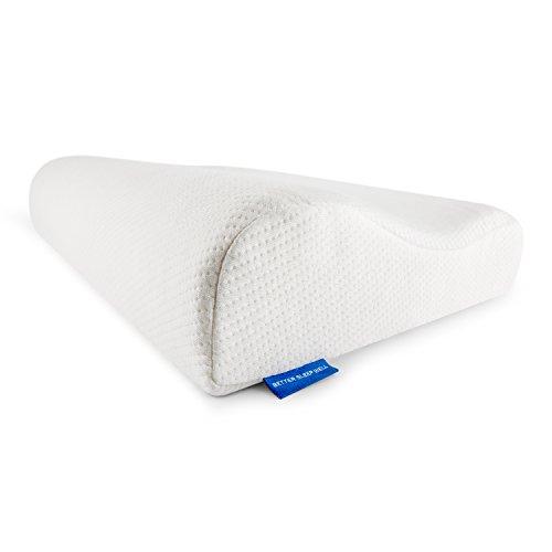BetterSleepWell Nackenstützkissen mit 2x Bambus Naturfaser Kissenbezug  50×30 cm Höhe 10-7 cm – weiß - 5