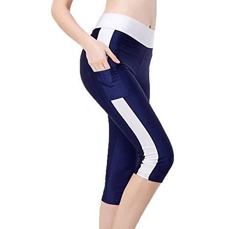 Damen Leggings High Waist Yoga Hosen Sporthose Frauen Jogginghose Mit Kleidung Seitentaschen 3 4 Trainingshose Elatisch Tights Leggins 10 Farben S (Color : Marineblau, Size : S)