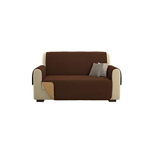 Kasa shop outlet copridivano/salvadivano deluxe imbottito, reversibile doubleface copertura divano (marrone, divano 2 posti)