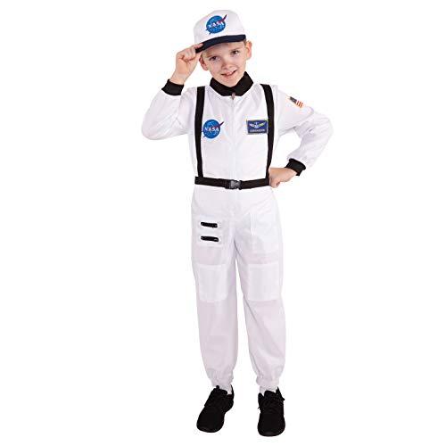 Kinder Astronaut Kostüm Raumfahrer Uniform Spaß Weltraum Ankleiden Jungen und Mädchen - Klein (Alter 3-6)