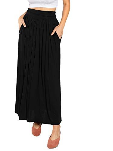 DIDK Damen Plissee Elastische Taille Maxi Rock Einfarbig Lange Kleider Elegant A Linie Röcke Maxirock Schwarz L