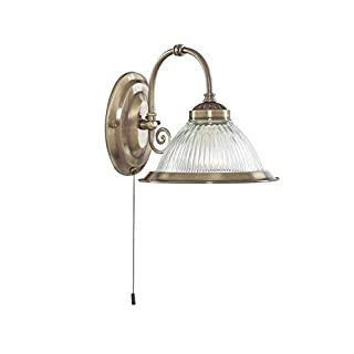 American Diner Antique Brass and Clear Ribbed Glass Wall Light (Requires 1X10 Watt E27 LED Golf Ball Lamp)
