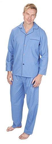 Herren Lang Traditionell Schlafanzüge 2-teilig Klassische Set Krankenhaus Top + Böden Nachtwäsche Größe S - XXL - Blau/Marine Trim, Large (Streifen-pyjama-böden)