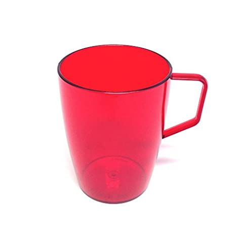 Harfield Polycarbonate Plastic Beakers / Mugs With Handle (Translucent Red, 280ml) Pack of 4