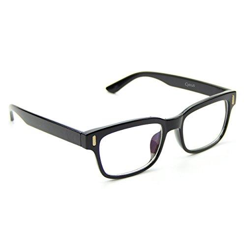 Cyxus transparente linse brillen, gewöhnliche gläser retro mode unisex brillen, schwarz rechteck frame