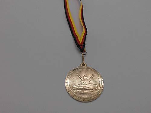 Fanshop Lünen Medaillen - aus Stahl 45mm - mit einem Emblem, Go-Kart - GoKart - Motocross - Kartsport - Kart - Logo inkl. Medaillen Band - Farbe: Gold - (e3014) -