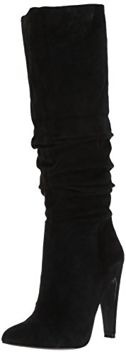 Steve Madden Women's Carrie Slouch Boot, Black Suede, 7.5 M US - Black Suede Slouch Boots