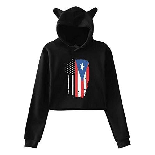 ZJKDKJYXG Amerikanischer Puerto Rico Flaggen-Frauen-Mädchen-Katzen-Ohr Hoodie-beiläufiger Langer Hülsen-herausgestellter Nabel-mit Kapuze Pullover