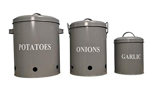 Aufbewahrungsdosen für Kartoffeln, Zwiebeln und Knoblauch aus Metall, grau, 3 Stück