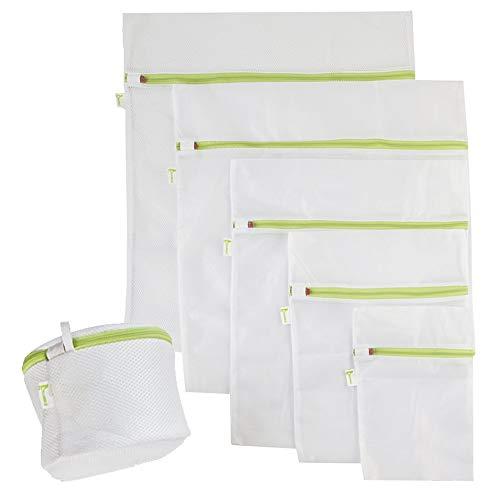 95e7124778e 6pcs Bolsas de Malla de Lavandería - Protección Completa, Multiuso, Durable  Bolsas con Zip Cremallera para La Colada - Reutilizable Bolsa de Lavadora  para ...