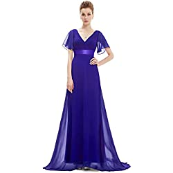 Ever-Pretty Robe de Soirée Longue Femme Col V Manches Courtes 42 Bleu Saphir