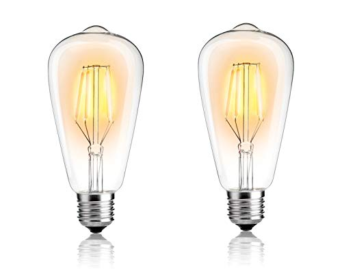 Citra Edison LED Bulb, 4W Vintage LED Filament Light Bulb, 3000k Warm White White, 80W Incandescent Equivalent, E26/27 Medium Base Lamp for Restaurant,Home,Reading Room,Office, 2-Pack