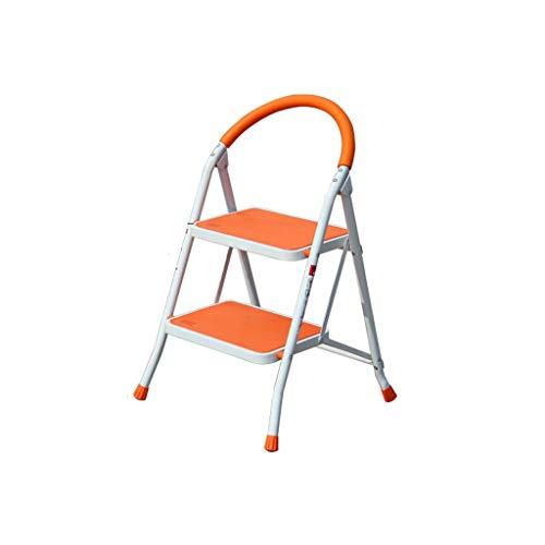 M-Home Stahlleitern Mit Handgriff Rutschfester, Stabiler Und Breiter Trittleiter Aus Stahl. Klappbarer Trittleiter (Farbe : Orange, Ausgabe : 2 Steps)