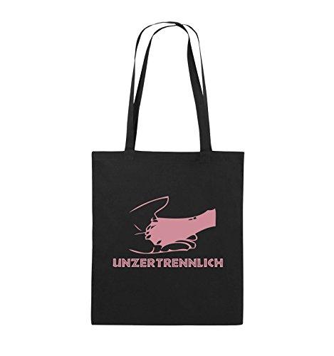 Comedy Bags - UNZERTRENNLICH - HAND PFOTE Hundeliebe - Jutebeutel - lange Henkel - 38x42cm - Farbe: Schwarz / Pink Schwarz / Rosa