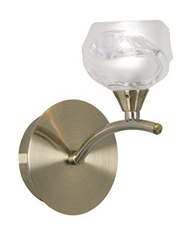 Korra Oaks Lighting Wandleuchte, 1-flammig, antikes Messing-Finish, mit Satin und klares Design Lampenschirm aus Glas -