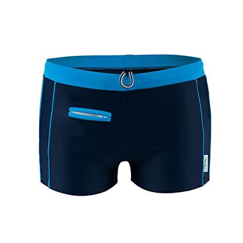 STANTEKS Herrenbadehosen mit Reißverschlusstasche Badeshorts für Männer Schwimmhose (blau, 2XL)