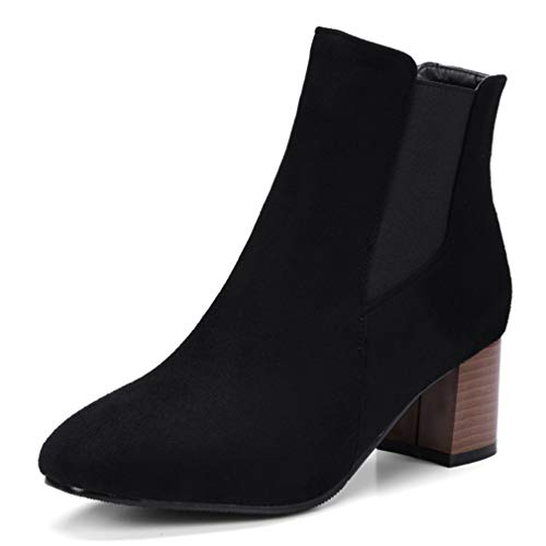 POLLYEDEN Women's Suede Elastic Panel Slip On Ankle Booties Winter Chunky Square Mid Heel Short Chelsea Boots -