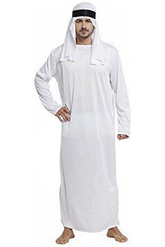 Joyplay Arabien Kostüm Weiß Robe Kopfbedeckung und Gürtel