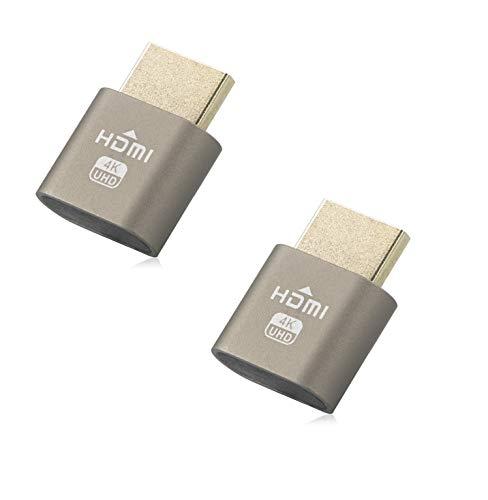 HDMI Dummy Plug, Headless Ghost, Display Emulator für Crypto Mining, HDMI 1,4DDC Display Adapter (1920x 1080neueste Generation @ 60Hz) Twin Pack braun -