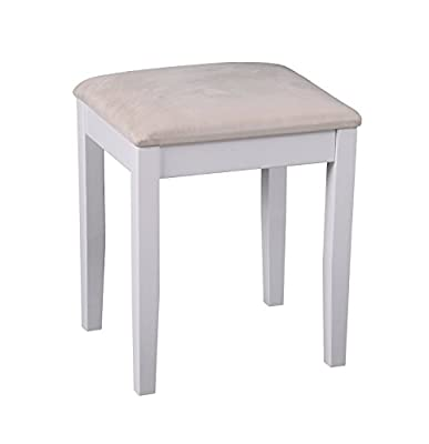 Wooden Dressing Table Stool With Cream Padded Seat - inexpensive UK dressing table store.