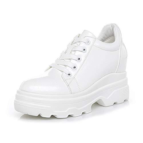 YAN Chaussures Femmes Low-Top Baskets en Cuir Verni Chaussures à Lacets Souliers Casual Chaussures de Sport Fitness & Cross Chaussures de Dressage Blanc Noir,White,37