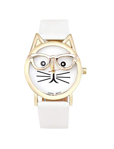 QIADS Uhren Frauen Uhren Runde Süße Brille Katze Frauen Analoges Zifferblatt Armbanduhr, Weiß