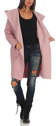 Malito Damen Wollmantel kurz | Boucle Wool | Trenchcoat mit Kapuze | weicher Dufflecoat | Parka - Jacke 9320 (rosa)