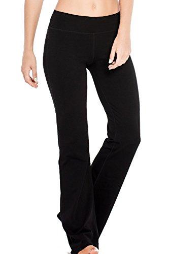 Houmous S-XXL Petite/Regular Tall Length Damen Yoga Bootleg Pants Inner versteckte Pocket Workout Pants, Damen, Regular-33 Inseam-Black, M-Waist(29
