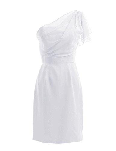 Dresstells, une épaule robe courte de demoiselle d'honneur en mousseline, robe de cocktail épaule asymétrique Blanc