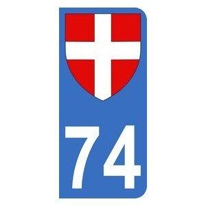 Autocollant 74 avec blason Croix de Savoie plaque immatriculation Moto (6,3 x 2,9 cm)