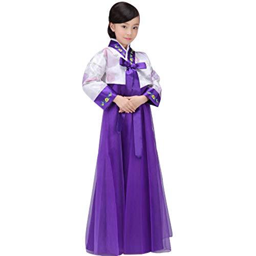 Kostüm Koreanisch Mädchen - BOZEVON Koreanisches Traditionelles Kleid - Mädchen Retro Klassisch Elegantes Hanbok Kostüm In Voller Länge, Weiß+Violett, EU 90=Tag 100