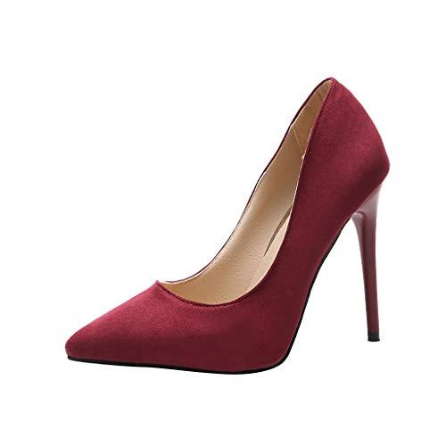 amen Spitzen Stilettos, Ultra Hochhackige Slip On Pumps Pumps Pumps Stilettos Wildleder Volltonfarbe High Heels für Party Prom Club ()