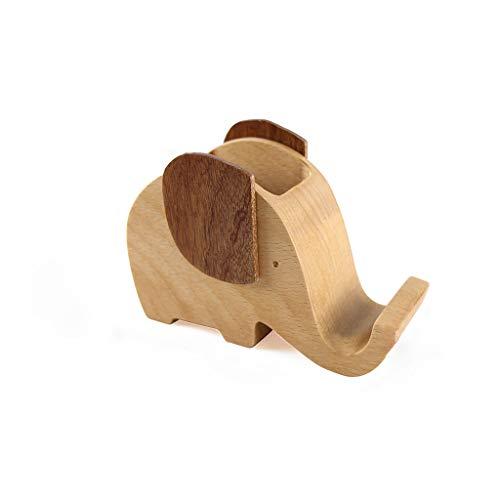 Soporte de madera para lápices con forma de elefante con soporte para teléfono, creativo, para guardar bolígrafos, papelería, escritorio, organizador de tabletas, soporte para iPad y iPhone