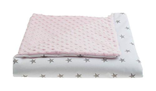 MoMika Nouvelle 2 faces Minky et couverture de bébé en coton | Play & Câlins Couverture | Girl & Boy Belle couverture Minky (80x80 cm) | Incroyablement doux et moelleux (Pink-Stars)