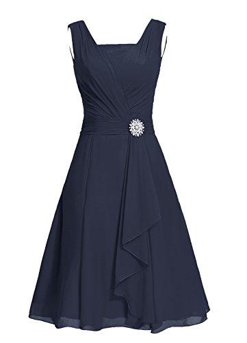 Dresstells, robe courte de demoiselle d'honneur mousseline col carré Lavande
