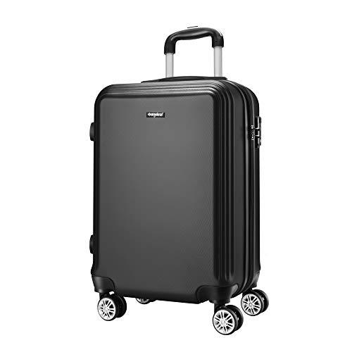 AMASAVA Hartschale 4 Rollen Handgepäck Trolley Koffer Bordgepäck Kabinentrolley Reisekoffer Gepäck Leichtgewicht ABS, Genehmigt für Ryanair, Easyjet, Lufthansa und Vieles Mehr 55cm/43L Schwarz